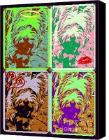 Critters Mixed Media Canvas Prints - Westie Craz Canvas Print by Tisha McGee