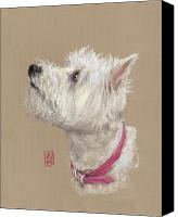 Westie Canvas Prints - Westie Profile Canvas Print by Debra Jones