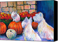 Westies Canvas Prints - Westie West Highland Terriers dogs and cat painting print Pumpkins Canvas Print by Svetlana Novikova