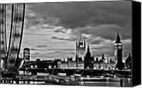 London Skyline Canvas Prints - Westminster black and white Canvas Print by Dawn OConnor