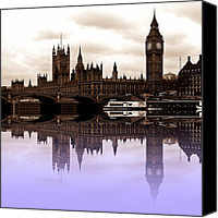 London Skyline Canvas Prints - Westminster lilac Canvas Print by Sharon Lisa Clarke