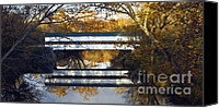 Indiana Autumn Digital Art Canvas Prints - Westport Covered Bridge - D007831a Canvas Print by Daniel Dempster