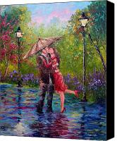 Kissing Canvas Prints - Wet Kiss Canvas Print by David G Paul