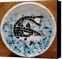 Mosaic Glass Art Canvas Prints - Whale Canvas Print by Jamie Frier