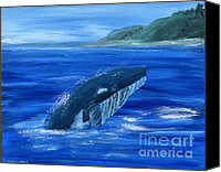 Whale Painting Canvas Prints - Whale Jumping Canvas Print by Gunilla Wachtel