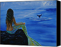 Whale Painting Canvas Prints - Whale Watcher Canvas Print by Leslie Allen
