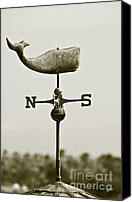 Monocromatico Canvas Prints - Whale Weathervane In Sepia Canvas Print by Ben and Raisa Gertsberg