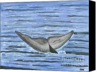 Whale Painting Canvas Prints - Whales Tail Canvas Print by Sea Sons Home and Life