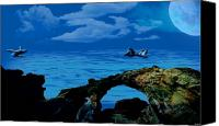 Seascape Pastels Canvas Prints - Whales tales Canvas Print by Evelyn Patrick