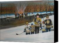 Pond Hockey Canvas Prints - What A Riot Canvas Print by Ron  Genest