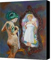 Nude  Canvas Prints - What the world sees Canvas Print by Tomas OMaoldomhnaigh