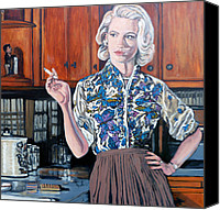 1960 Painting Canvas Prints - Whats For Dinner? Canvas Print by Tom Roderick