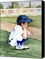 Baseball Painting Canvas Prints - When Do I Get To Play Canvas Print by Sam Sidders