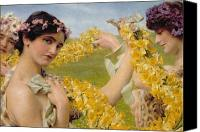 Toga Canvas Prints - When Flowers Return Canvas Print by Sir Lawrence Alma-Tadema