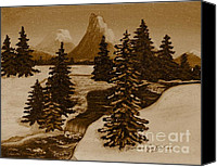 Snowed In Canvas Prints - When it Snowed in the Mountains Canvas Print by Barbara Griffin