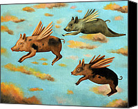 Pig Painting Canvas Prints - When Pigs Fly Canvas Print by Leah Saulnier The Painting Maniac