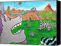 Black Unicorn Canvas Prints - When Zebrasaurs Walked The Earth Canvas Print by Jera Sky