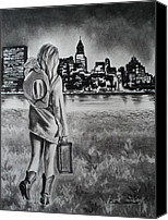 Charcoal Drawing Canvas Prints - Wherever Your Dreams May Take You Canvas Print by Carla Carson