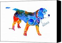 Beagle Canvas Prints - Whimsical Beagle Canvas Print by Jo Lynch