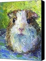Animal Drawings Canvas Prints - Whimsical Guinea Pig painting print Canvas Print by Svetlana Novikova