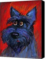 Dog Canvas Prints - whimsical Schnauzer dog painting Canvas Print by Svetlana Novikova