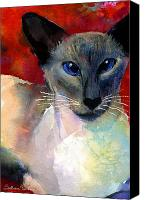 Cute Drawings Canvas Prints - Whimsical Siamese Cat painting Canvas Print by Svetlana Novikova