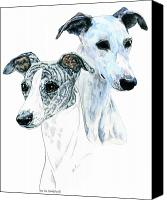 Whippet Canvas Prints - Whippet Pair Canvas Print by Kathleen Sepulveda