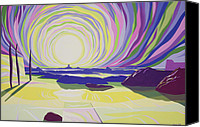 Rays Painting Canvas Prints - Whirling Sunrise - La Rocque Canvas Print by Derek Crow
