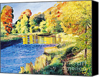 Yellow Trees Canvas Prints - Whispering River Canvas Print by David Lloyd Glover