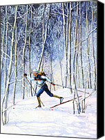 Skiing Prints Canvas Prints - Whispering Tracks Canvas Print by Hanne Lore Koehler