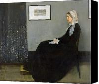 Grey Painting Canvas Prints - Whistlers Mother Canvas Print by James Abbott McNeill Whistler