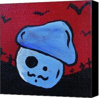 Apocalypse Mixed Media Canvas Prints - Whistlin Zombie Mushroom Canvas Print by Jera Sky