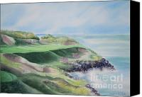 Sports Art Canvas Prints - Whistling Straits 7th Hole Canvas Print by Deborah Ronglien