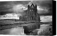 Mono Canvas Prints - Whitby Abbey Canvas Print by Ian Barber