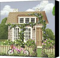 Garden Flowers Canvas Prints - Whitby Cottage Canvas Print by Catherine Holman