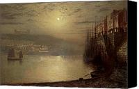 Ruin Painting Canvas Prints - Whitby Canvas Print by John Atkinson Grimshaw