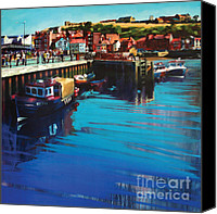 Harbor Art Painting Canvas Prints - Whitby New Quay Canvas Print by Neil McBride