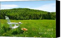 Grow Digital Art Canvas Prints - White adirondack chair in a field of tall grass Canvas Print by Sandra Cunningham