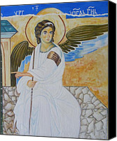 Byzantine Canvas Prints - White Angel  Canvas Print by Jovica Kostic