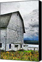 White Barns Canvas Prints - White Barn Canvas Print by Emily Stauring
