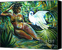 Anna Duyunova Canvas Prints - White Bird Canvas Print by Anna  Duyunova
