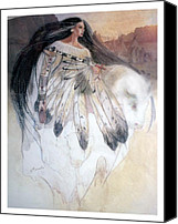 White Pastels Canvas Prints - White Buffalo Calf Woman Canvas Print by Pamela Mccabe