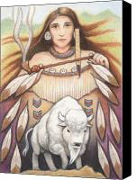 Buffalo Drawings Canvas Prints - White Buffalo Woman Canvas Print by Amy S Turner