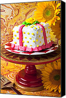 Cake-stand Canvas Prints - White cake Canvas Print by Garry Gay