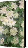 Monet Painting Canvas Prints - White Clematis Canvas Print by Claude Monet