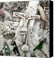 Modern Art Canvas Prints - White Crucifixion Canvas Print by Granger