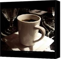 Stoneware Canvas Prints - White Cup Canvas Print by Octane Creative