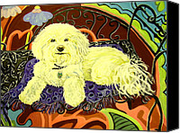 Dog Ceramics Canvas Prints - White Dog in garden Canvas Print by Patricia Lazar