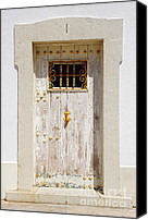 Rusty Door Canvas Prints - White Door Canvas Print by Carlos Caetano