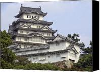 Middle Ages Photo Canvas Prints - White Heron Castle - Himeji City Japan Canvas Print by Daniel Hagerman
